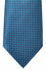 Brioni Tie Midnight Blue Turquoise Geometric