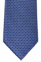 Brioni Tie Midnight Blue Metallic Gray Geometric - Winter 2015 Collection