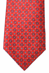 Brioni Tie Red Gray Geometric