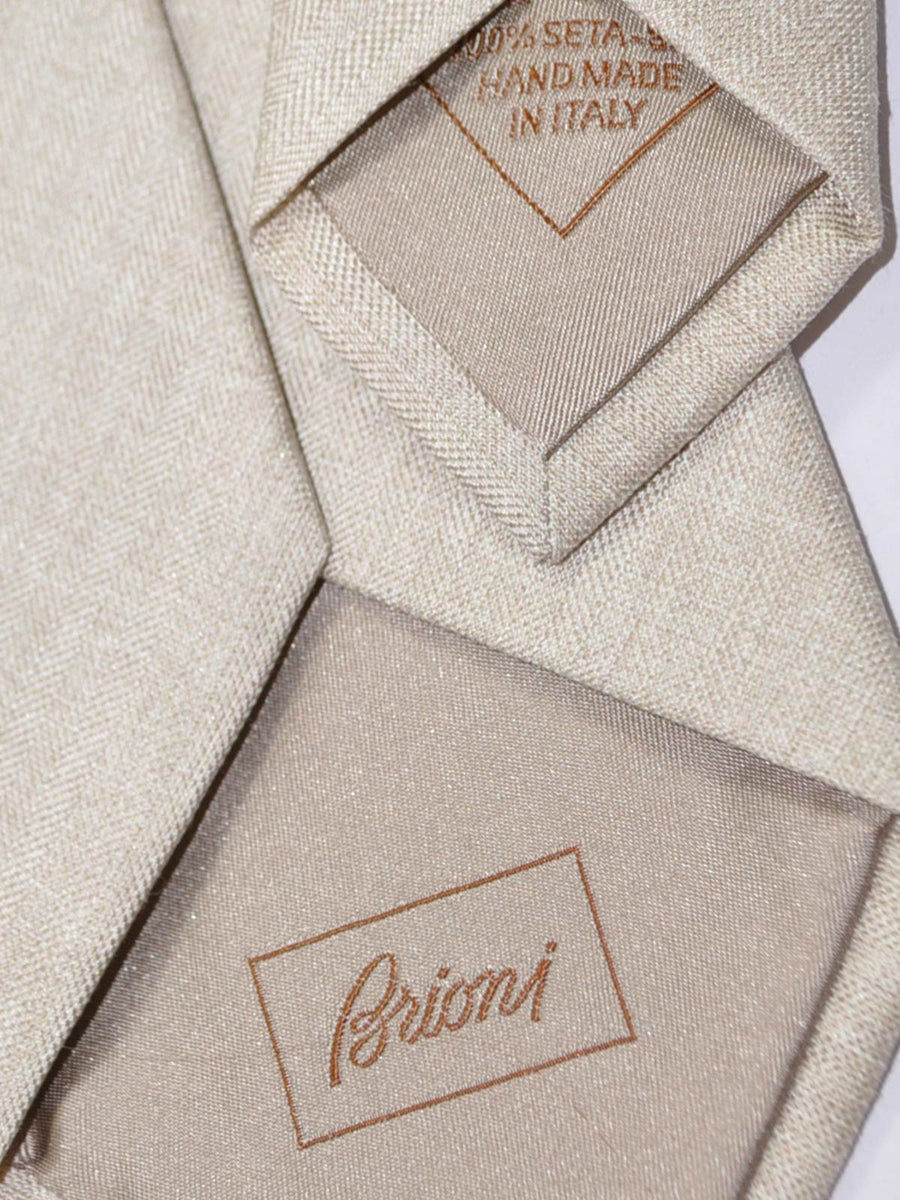 Brioni Tie Beige-Gray Solid Design New