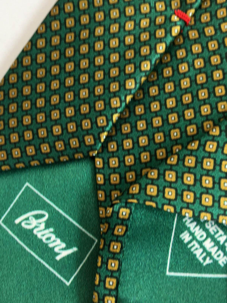 Brioni Tie Green Geometric Design