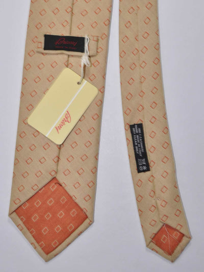 Brioni Cashmere Tie Beige Orange Geometric SALE