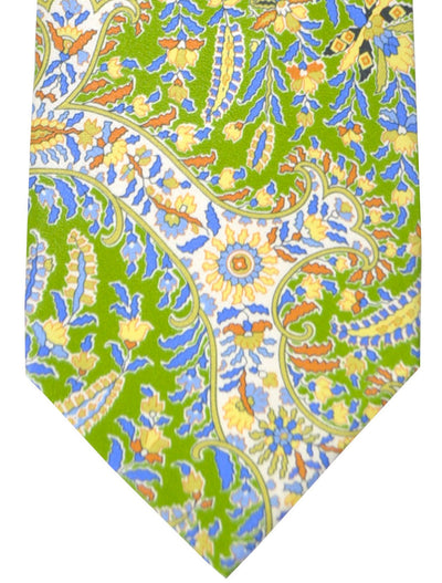 Brioni Tie Green Yellow Blue Floral Design FINAL SALE