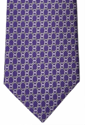 Brioni Tie Purple Geometric Interlocking - New Collection
