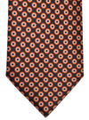 Brioni Tie Gray Orange Dots Circles Design
