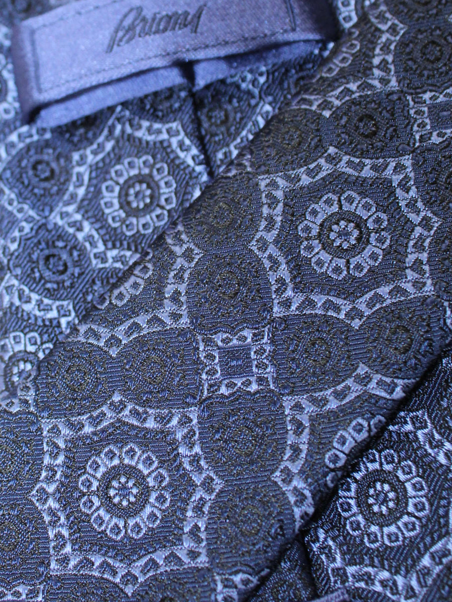 Brioni Silk Tie Dark Blue Medallions Design