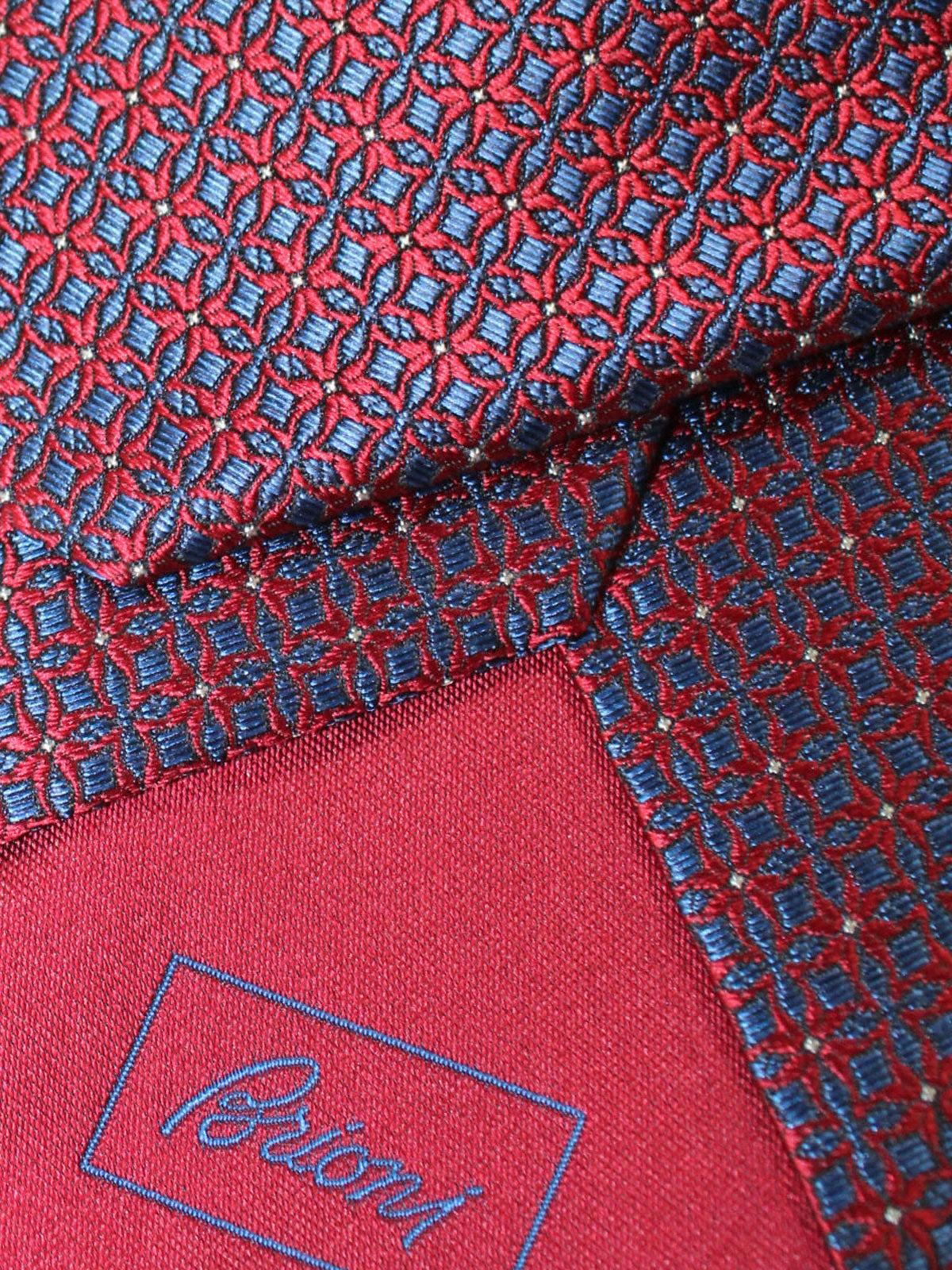 Brioni Silk Tie Red Navy Geometric Design
