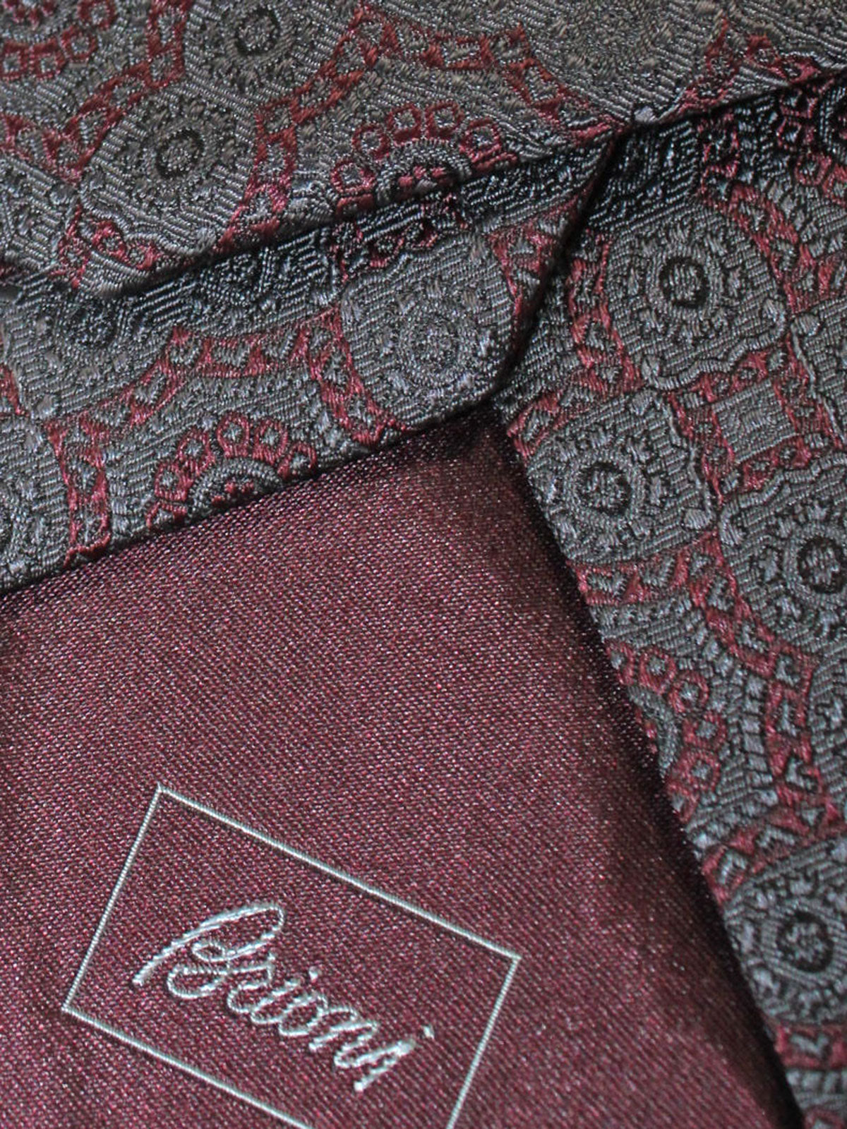 Brioni Silk Tie Brown Dark Gray Medallions Design