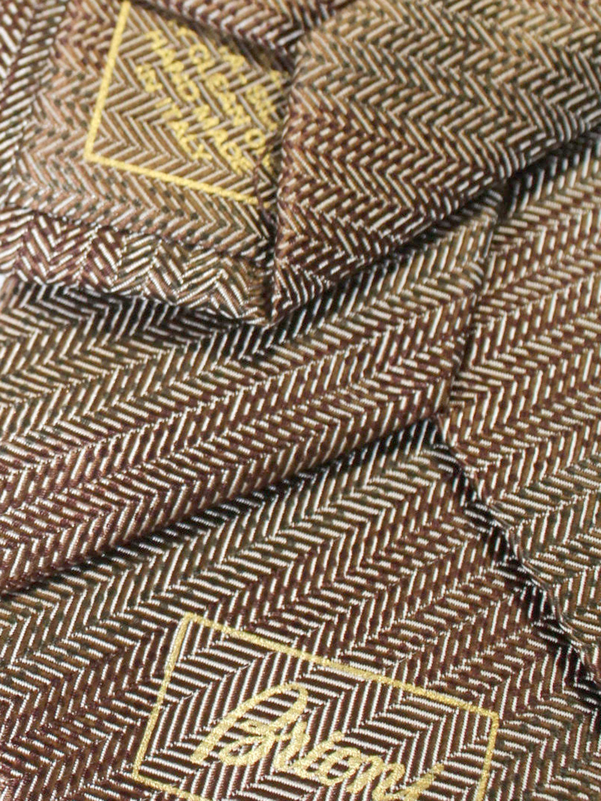 Brioni Silk Tie Brown Silver Herringbone