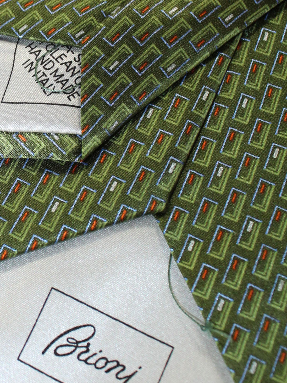 Brioni Silk Tie Green Geometric