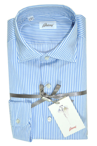 Brioni Dress Shirt SARTORIAL White Blue Stripes 41 - 16