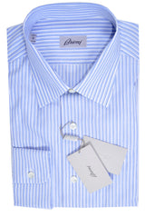 Brioni Dress Shirt White Navy Blue Stripes 41 - 16