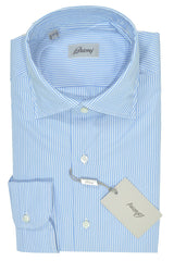 Brioni Sartorial Dress Shirt White Blue
