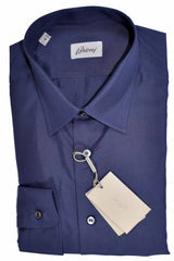 Brioni Silk Shirt Dark Blue Solid L