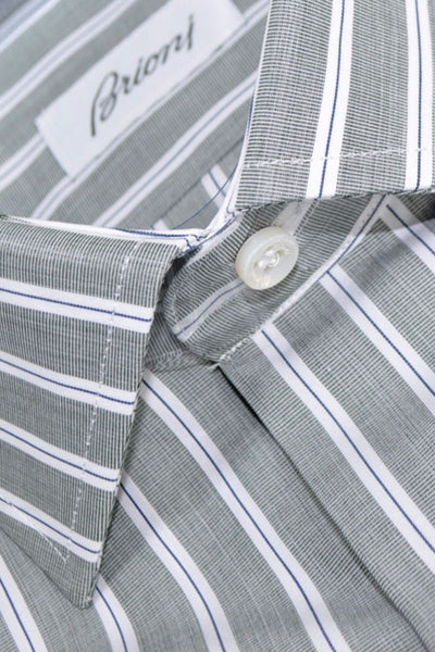 Brioni Dress Shirt Gray White Navy Stripes 40 - 15 3/4 SALE