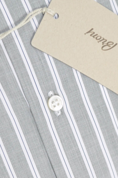 Brioni Dress Shirt Gray White Navy Stripes