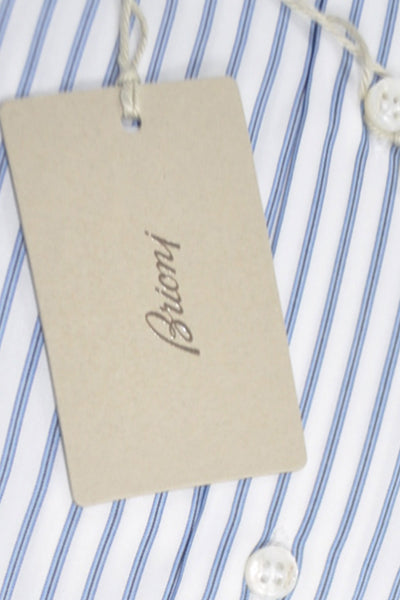 Brioni Dress Shirt White Navy Blue Stripes Slim Fit 40 - 15 3/4 SALE