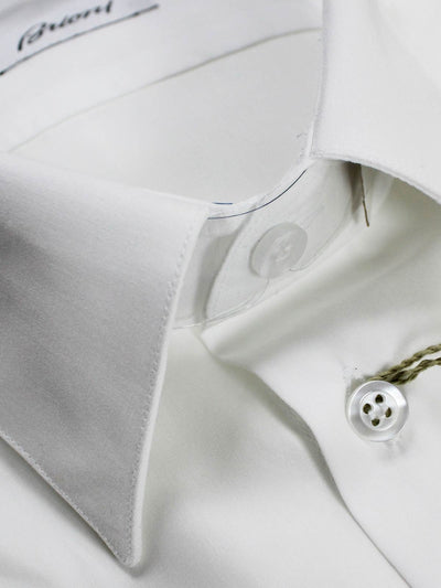 Brioni Dress Shirt Solid White 39 - 15 1/2 Regular Fit