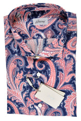 Brioni Linen Shirt Navy Red Pink