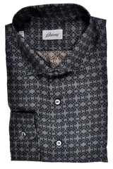 Brioni Silk Shirt Black Gray Geometric Print