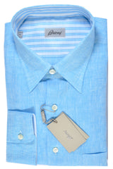 Brioni Linen Shirt Aqua Blue FINAL SALE
