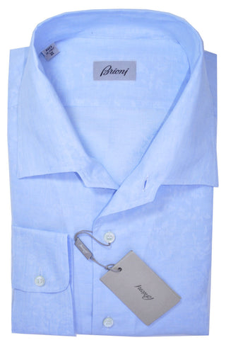 Brioni Shirt Sky Blue Floral Linen Cotton 40 -15 3/4