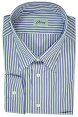 Brioni Dress Shirt Navy Lavender Stripes