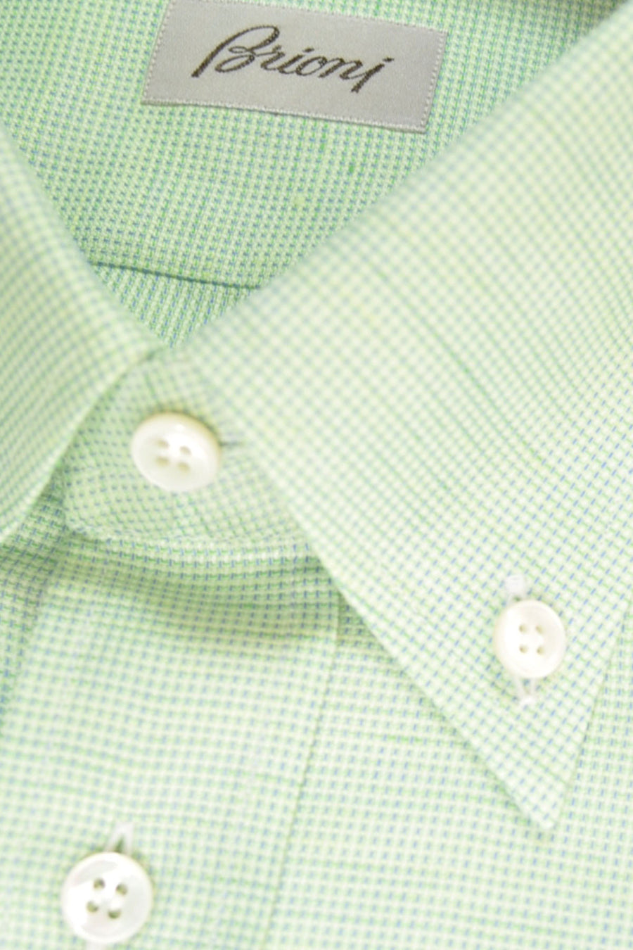 Brioni Shirt Lime-Green Navy Button Down Shirt S - SALE
