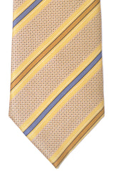 Brioni Tie Mustard Midnight Blue Taupe Stripes