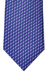 Brioni Tie Metal Gray Purple Geometric