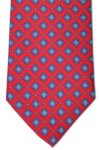Brioni Tie Red Navy Blue Geometric Print - New Collection