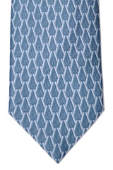 Brioni Tie Metal Blue Geometric - New Collection