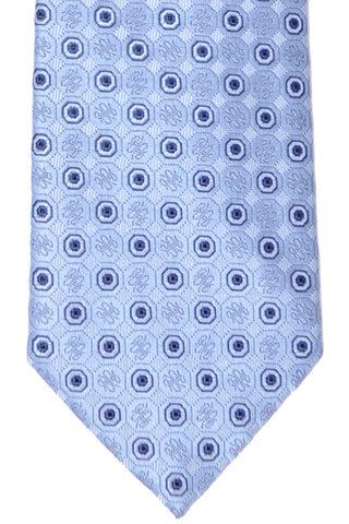 Brioni Tie Sky Blue Navy Geometric - New Collection