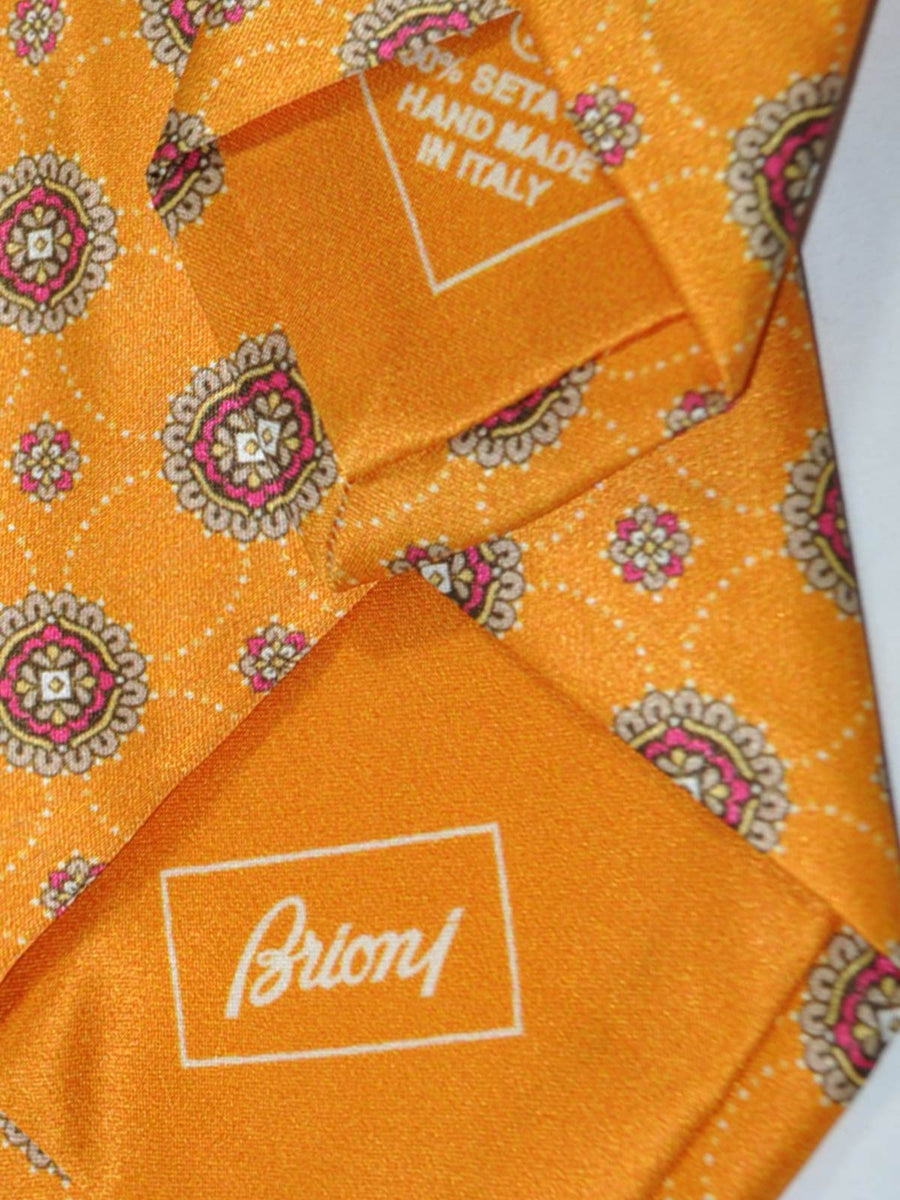 Brioni Tie Orange Medallion Design SALE