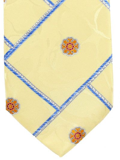 Brioni Tie Yellow-Cream Royal Blue Design