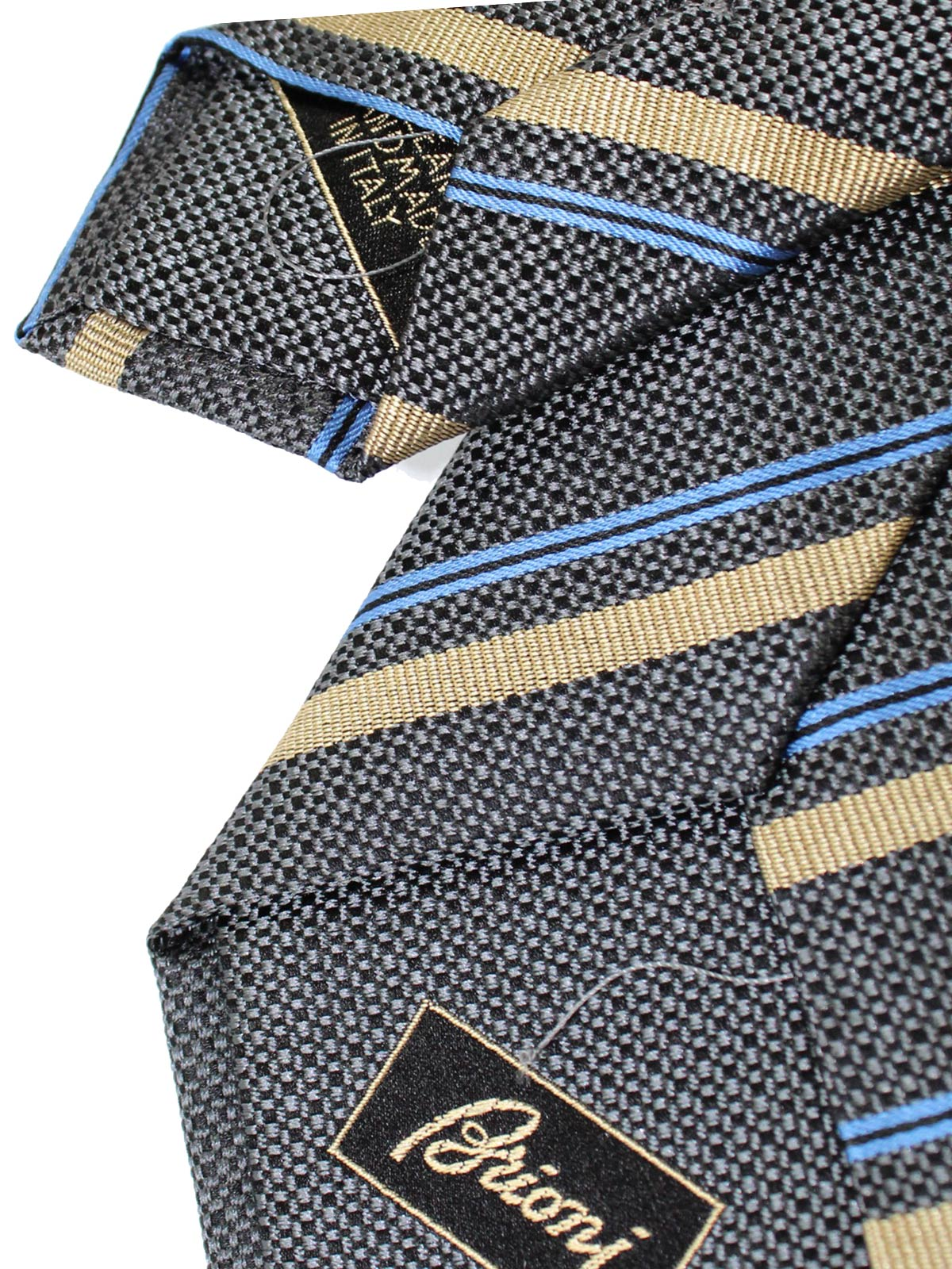 Brioni Tie Gray Taupe Royal Blue
