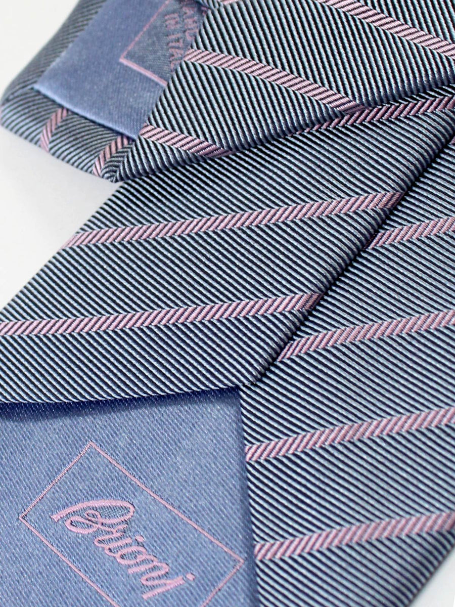 Brioni Necktie Metal Gray Lilac Striped Design