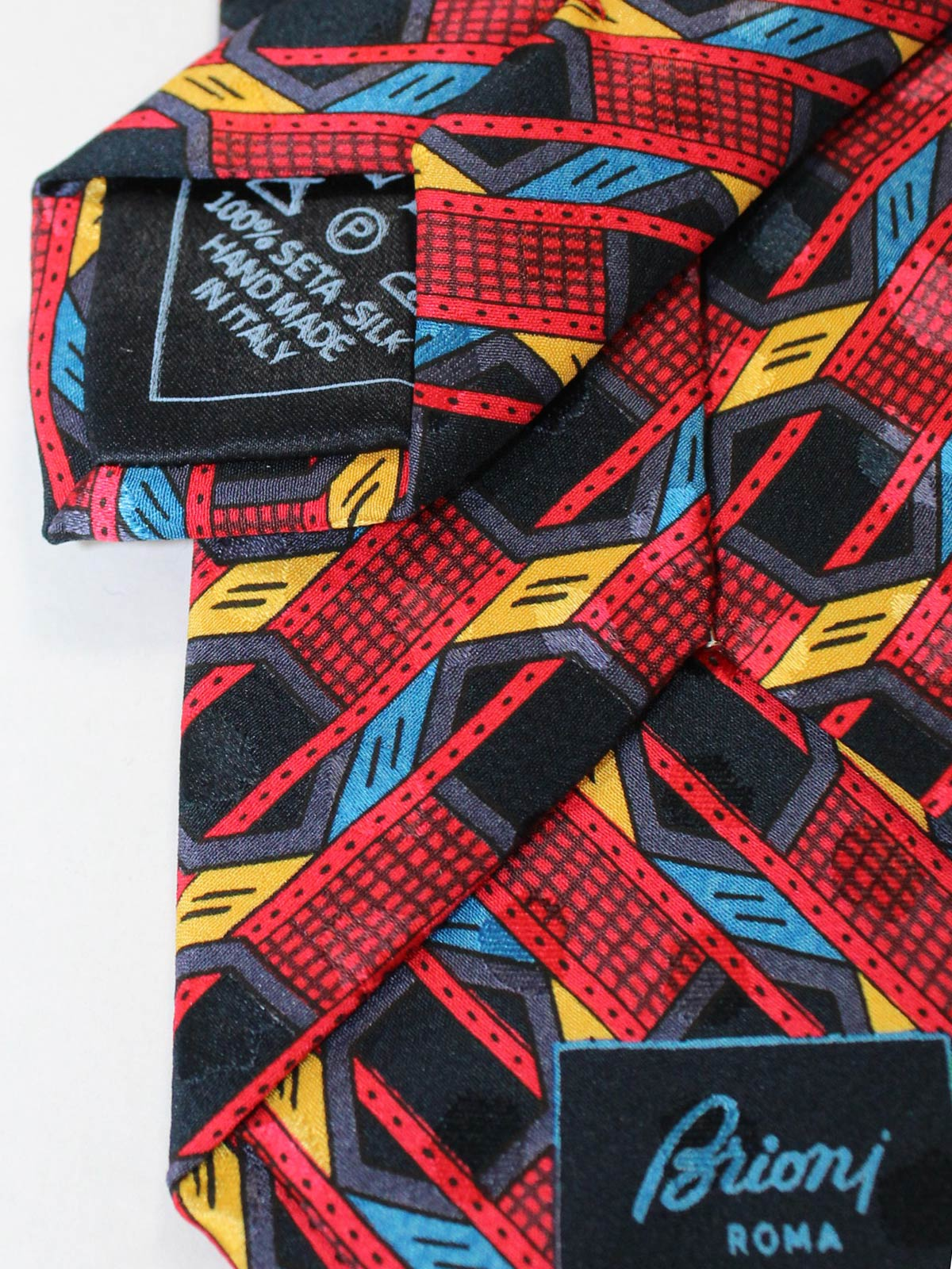 Brioni Silk Tie Red Black Royal Blue SALE