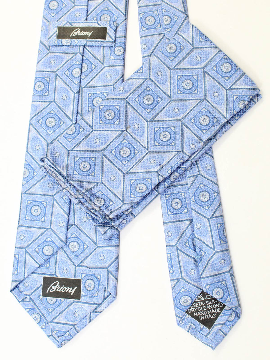 Brioni Tie & Matching Pocket Square Set Blue Design SALE