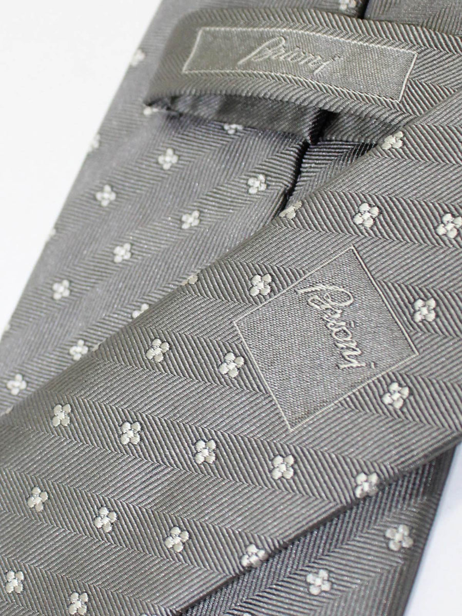 Brioni Silk Tie Gray Geometric Design