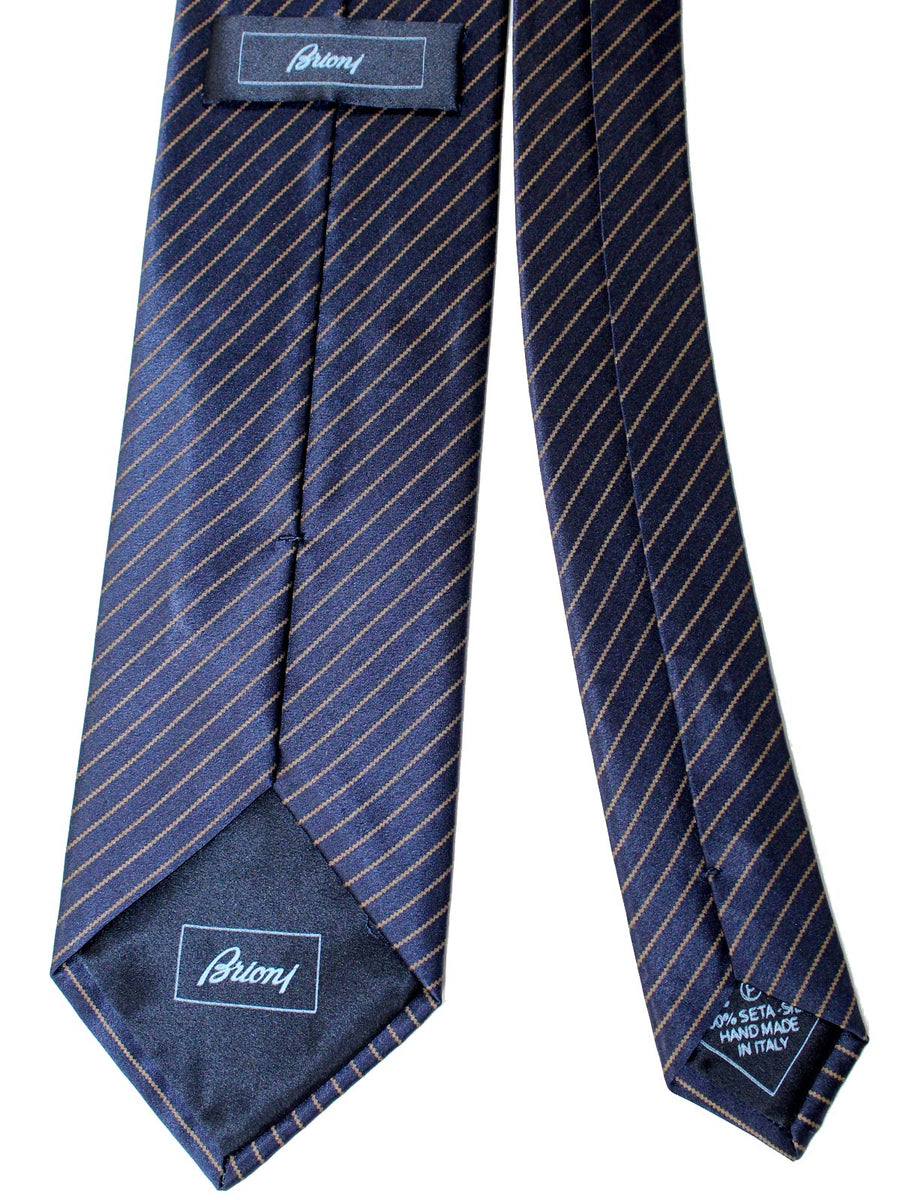 Brioni Silk Tie Midnight Blue Stripes SALE