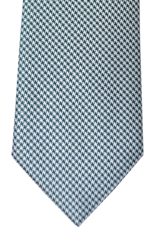 Brioni Tie Turquoise Green Silver Houndstooth- SALE