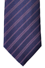 Brioni Tie Dark Purple Silver Stripes - New Collection