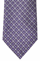 Brioni Tie Gray Purple Geometric Dots SALE