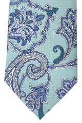Brioni Tie Mint Blue Paisley - New Collection