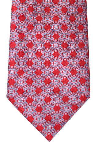 Brioni Tie Red Gray Silver Geometric - New Collection