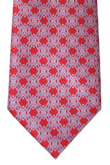 Brioni Tie Red Gray Silver Geometric