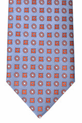 Brioni Tie Sky Blue Orange Geometric