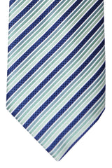 Brioni Tie Mint Green Navy Stripes
