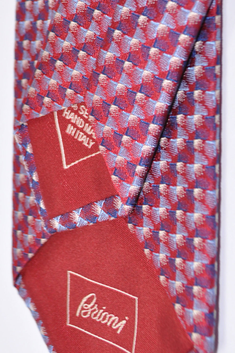 Brioni Tie Red Navy Gray Geometric